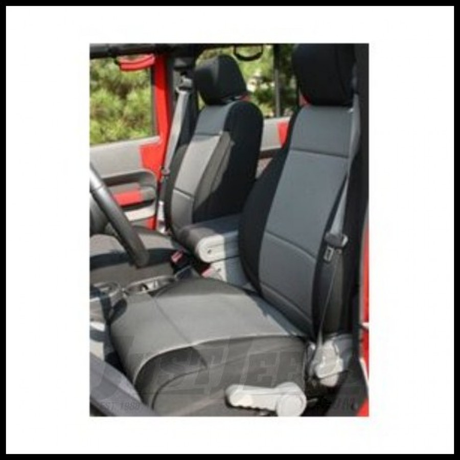 Rugged Ridge Custom Fit Neoprene Front Seat Covers Black on Gray 2007-10 JK Wrangler