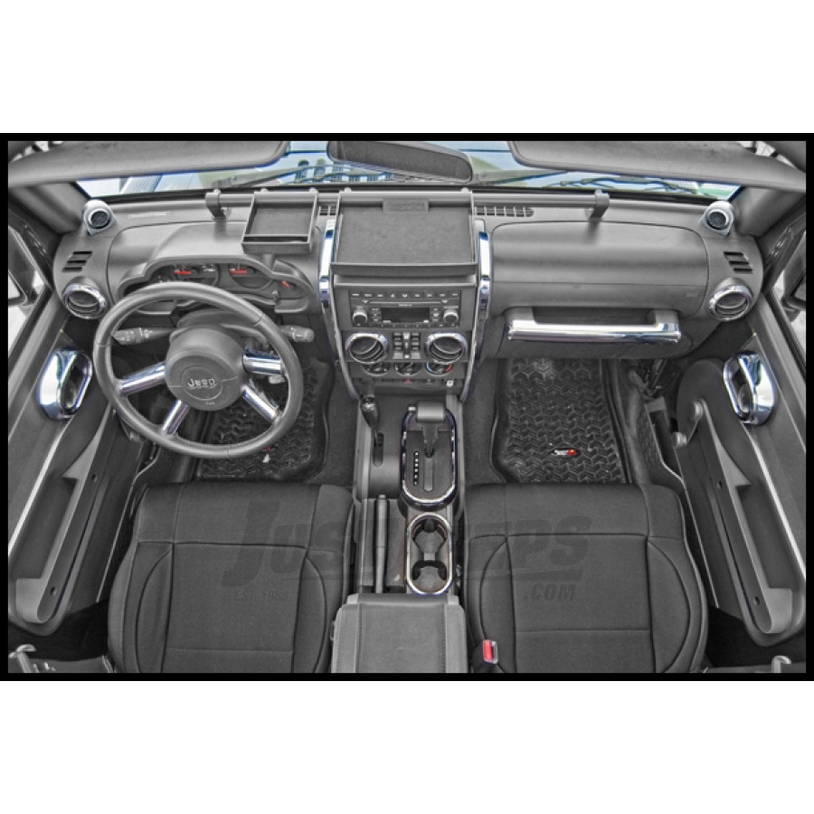 Just Jeeps Buy Rugged Ridge Interior Trim Kit In Chrome For 2007 10 Jeep Wrangler Unlimited Jk 4