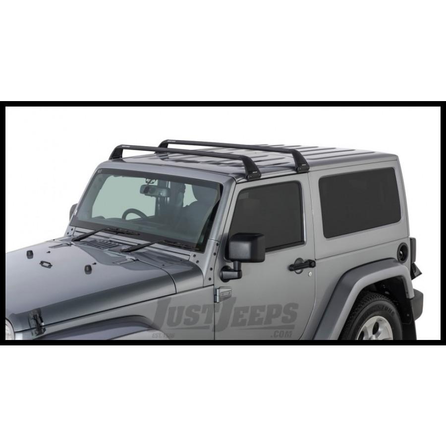 Rhino rack roof rack kit 2 vortex aero black bars w 4 gutter mounts for 2011 16 jeep wrangler 2 door
