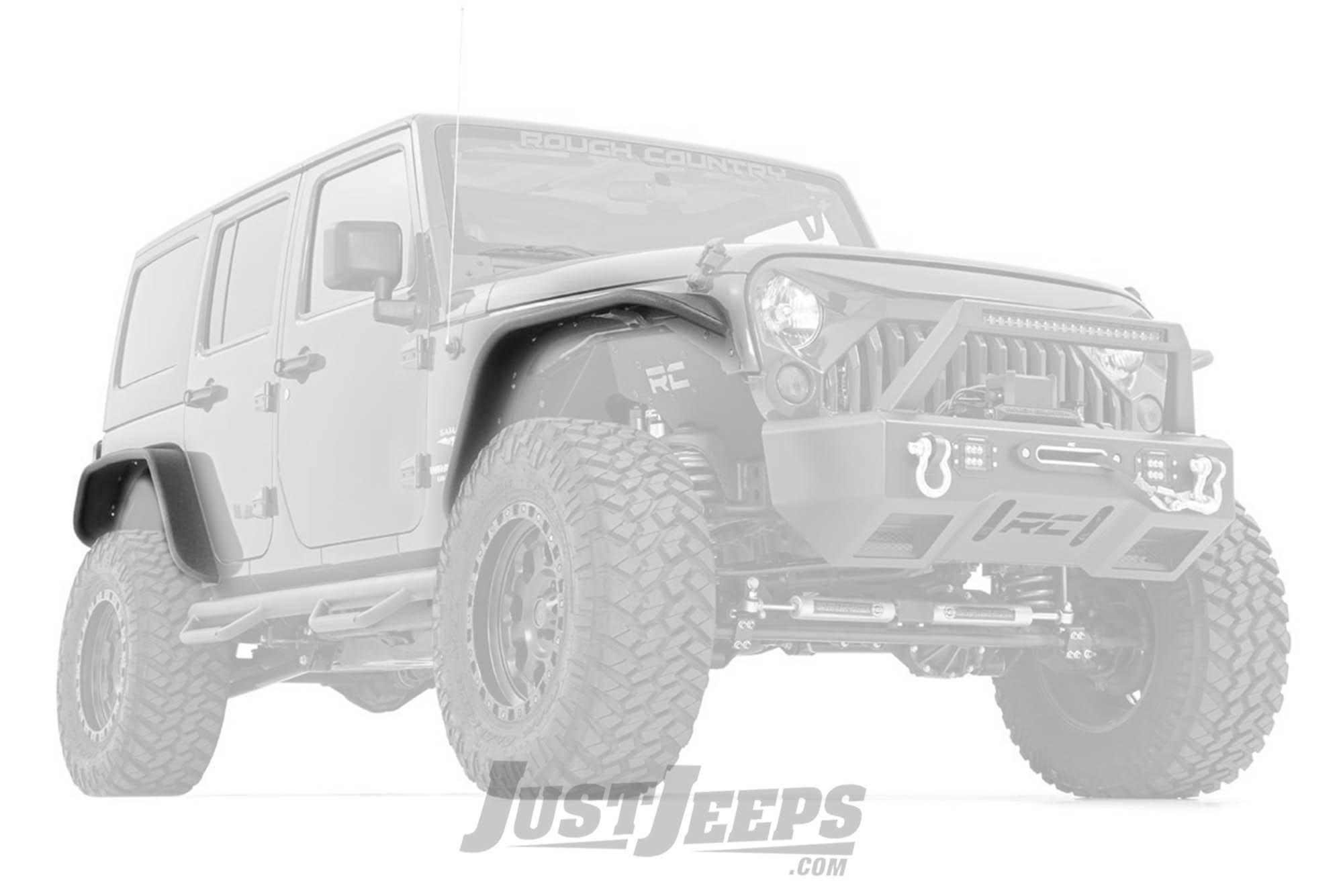 Rough Country Tubular Front & Rear Fender Flares Set For 2007-18 Jeep Wrangler JK 2 Door & Unlimited 4 Door Models