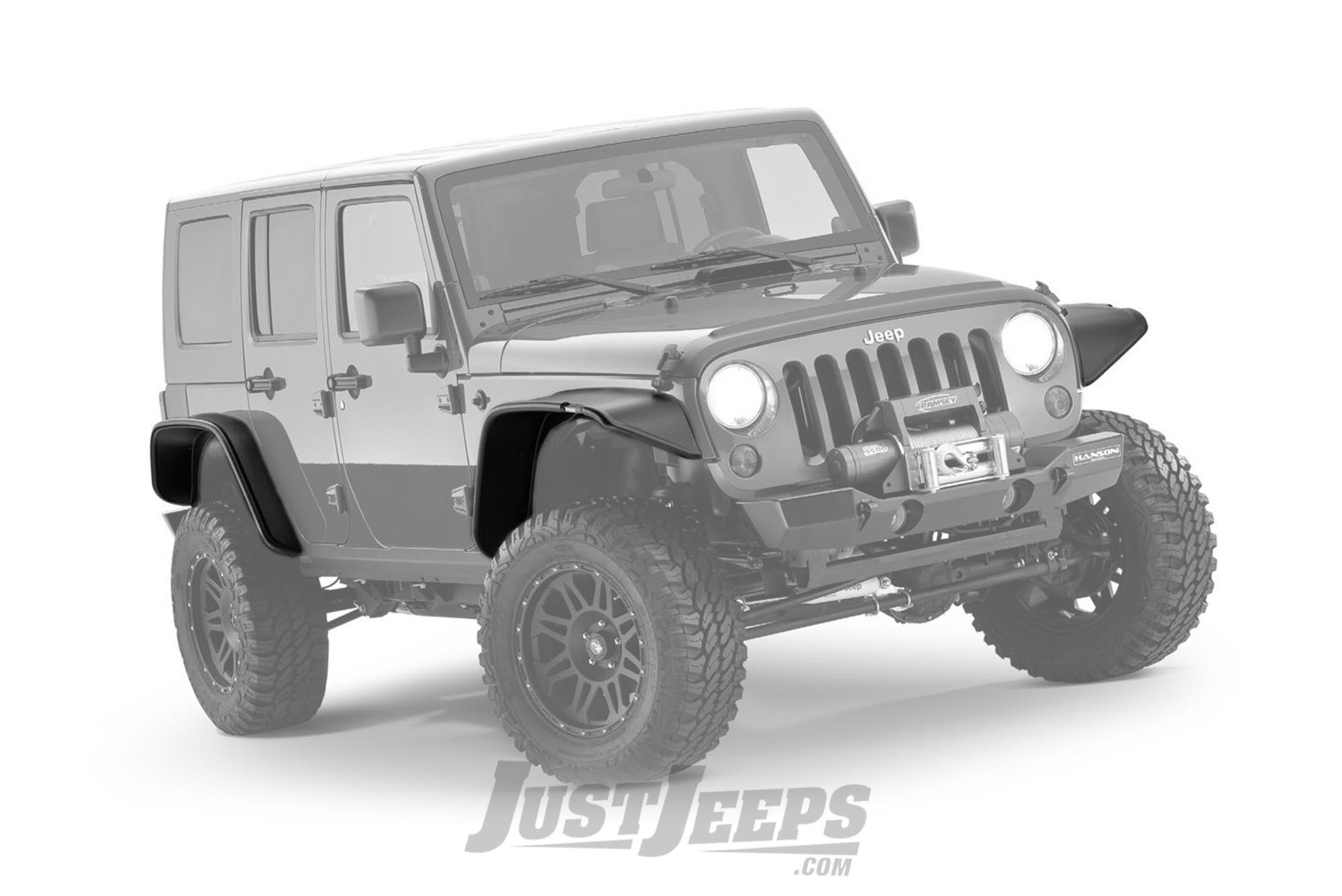 Bushwacker Flat Style Fender Flares For 2007-18 Jeep Wrangler JK Unlimited 4 Door Models