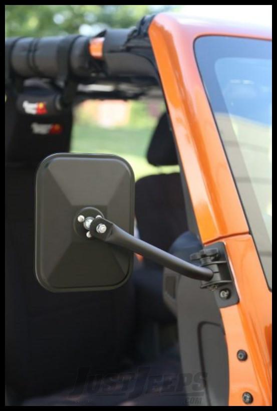 Rugged Ridge Quick Release RECTANGULAR Mirror Kit (Textured Black) For 1997+ Jeep Wrangler TJ, JK, TJ Unlimited & Wrangler Unlimited JK (Pair)