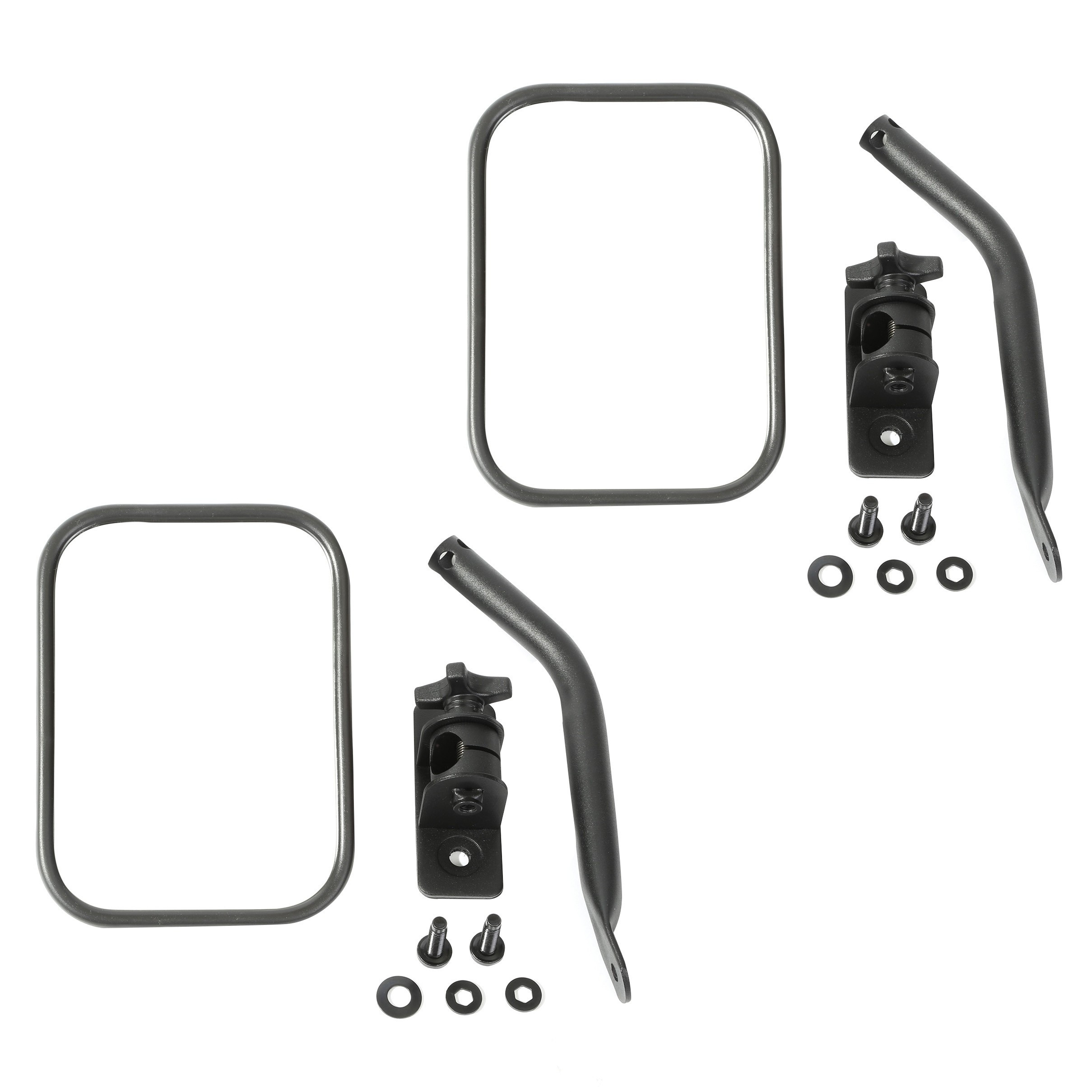 Rugged Ridge Quick Release RECTANGULAR Mirror Kit (Textured Black) For 1997+ Jeep Wrangler TJ, JK, TJ Unlimited & Wrangler Unlimited JK (Pair) 11025.18