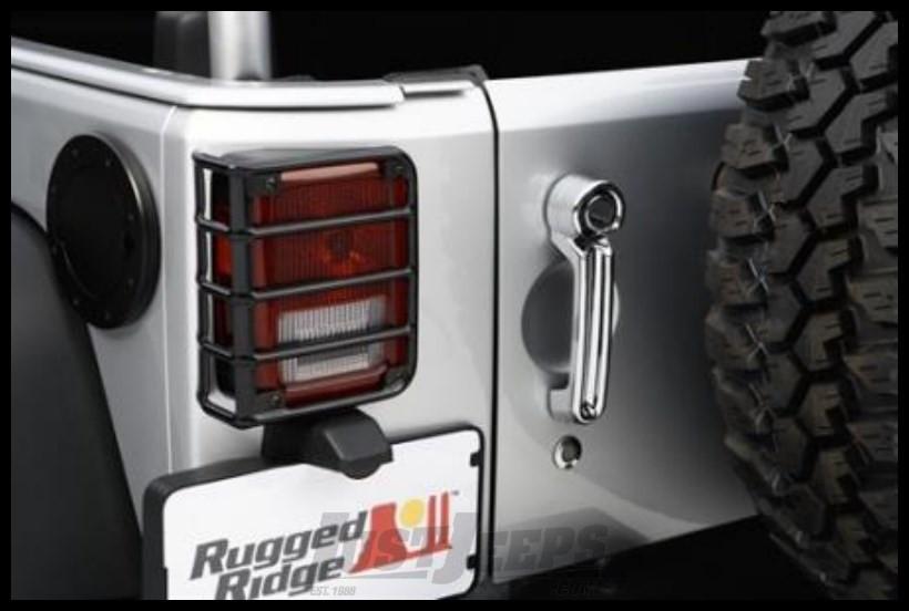 Rugged Ridge (Gloss Black) Euro Guard Rear Light Guards 2007-18 JK 2 Door & Unlimited 4 Door Models 11226.02