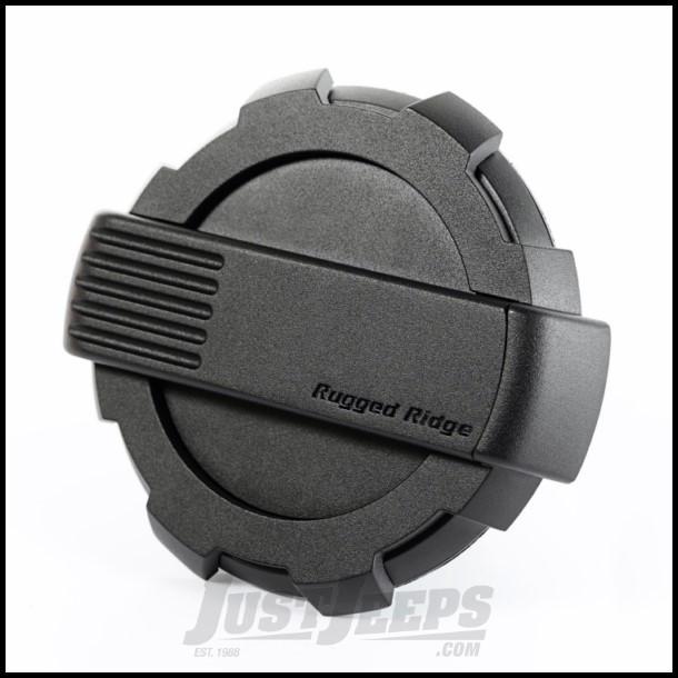 Rugged Ridge Elite Non-Locking (Black Aluminum) Fuel Door For 2007-18 Jeep Wrangler JK 2 Door & Unlimited 4 Door Models 11425.12