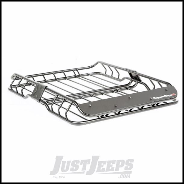 "Rugged Ridge Roof Rack Basket Black With Wind Deflector (41""X L 27"" W X 7.5"" High)"