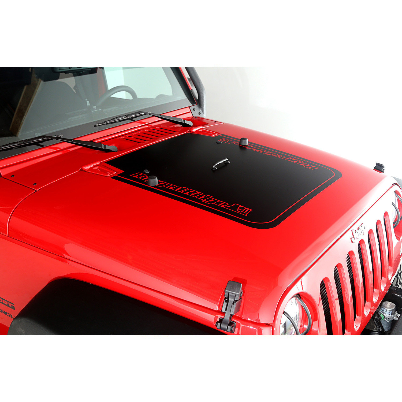 Just jeeps rugged ridge black vinyl rugged ridge hood decal for 2007 18 jeep wrangler jk 2 door unlimited 4 door models jeep wrangler jk unlimited