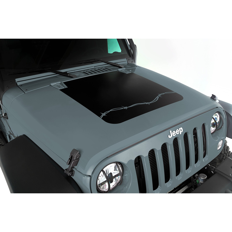 Just Jeeps Buy Rugged Ridge Black Vinyl Barbed Wire Hood Decal Jeep Wrangler Wiring Parts For 2007 18 Jk 2 Door Unlimited 4 Models