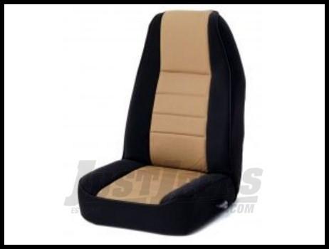 Rugged Ridge Neoprene Custom-Fit Front Seat Covers Tan on black 1976-90 Jeep Wrangler YJ and CJ7