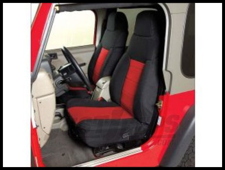Rugged Ridge Neoprene Custom-Fit Front Seat Covers Red on black 2003-06 TJ Wrangler, Rubicon and Unlimited