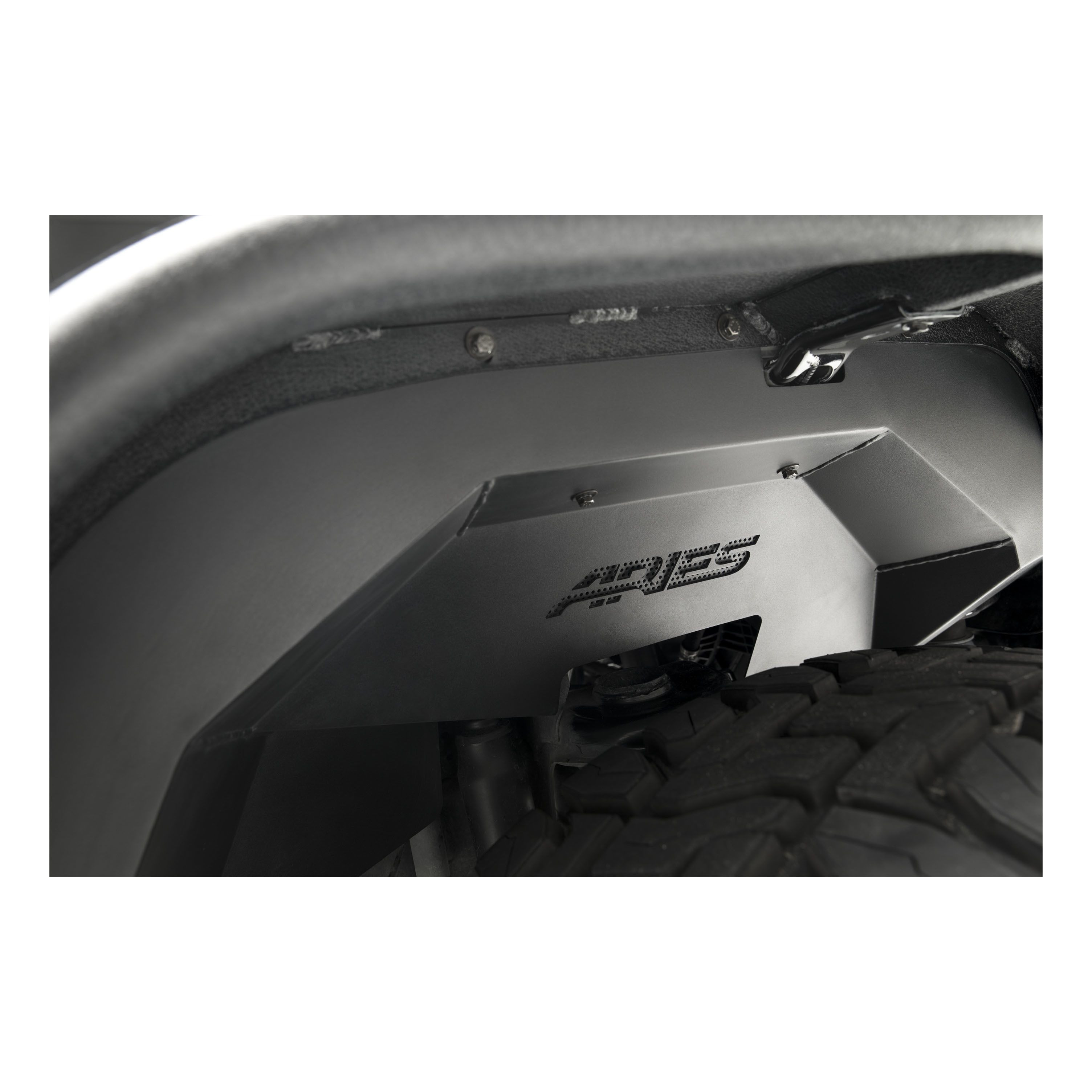 Aries Automotive Front & Rear Inner Fender Liners Set In Black For 2007-18 Jeep Wrangler JK 2 Door & Unlimited 4 Door Models 2500450