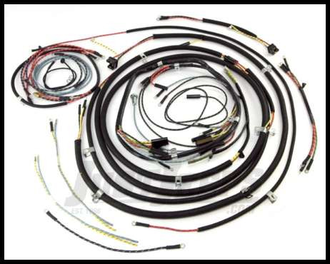 Omix-ADA Wiring Harness For 1952-56 Jeep CJ3B Exact Fit Cloth (Includes  Turn Signal Wires, Non Military, For use With Small Speedometer)