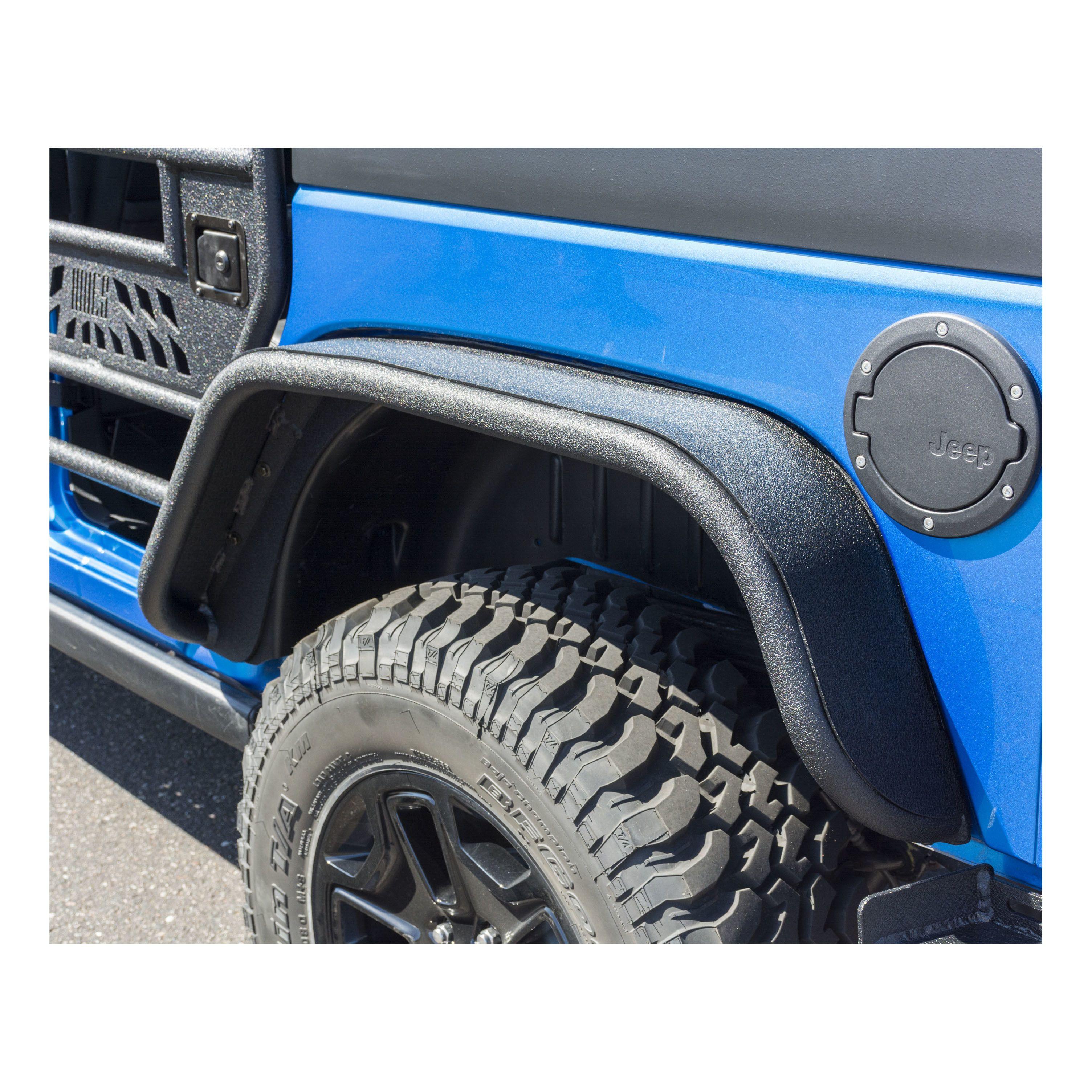 Aries Automotive Rear Tubular Fender Flares For 2007-18 Jeep Wrangler JK 2 Door & Unlimited 4 Door Models 2500201