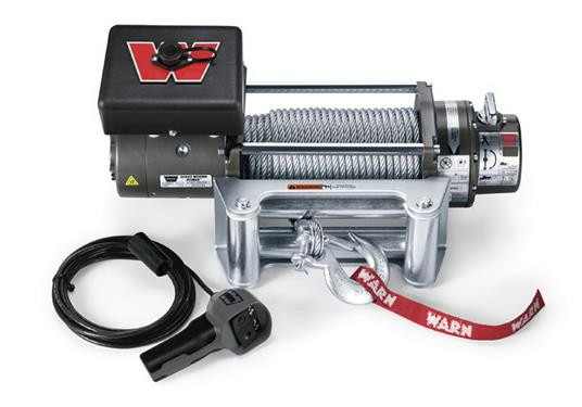 WARN M8000 Self-Recovery Winch (12V DC) 100' Wire Rope and Roller Fairlead 26502