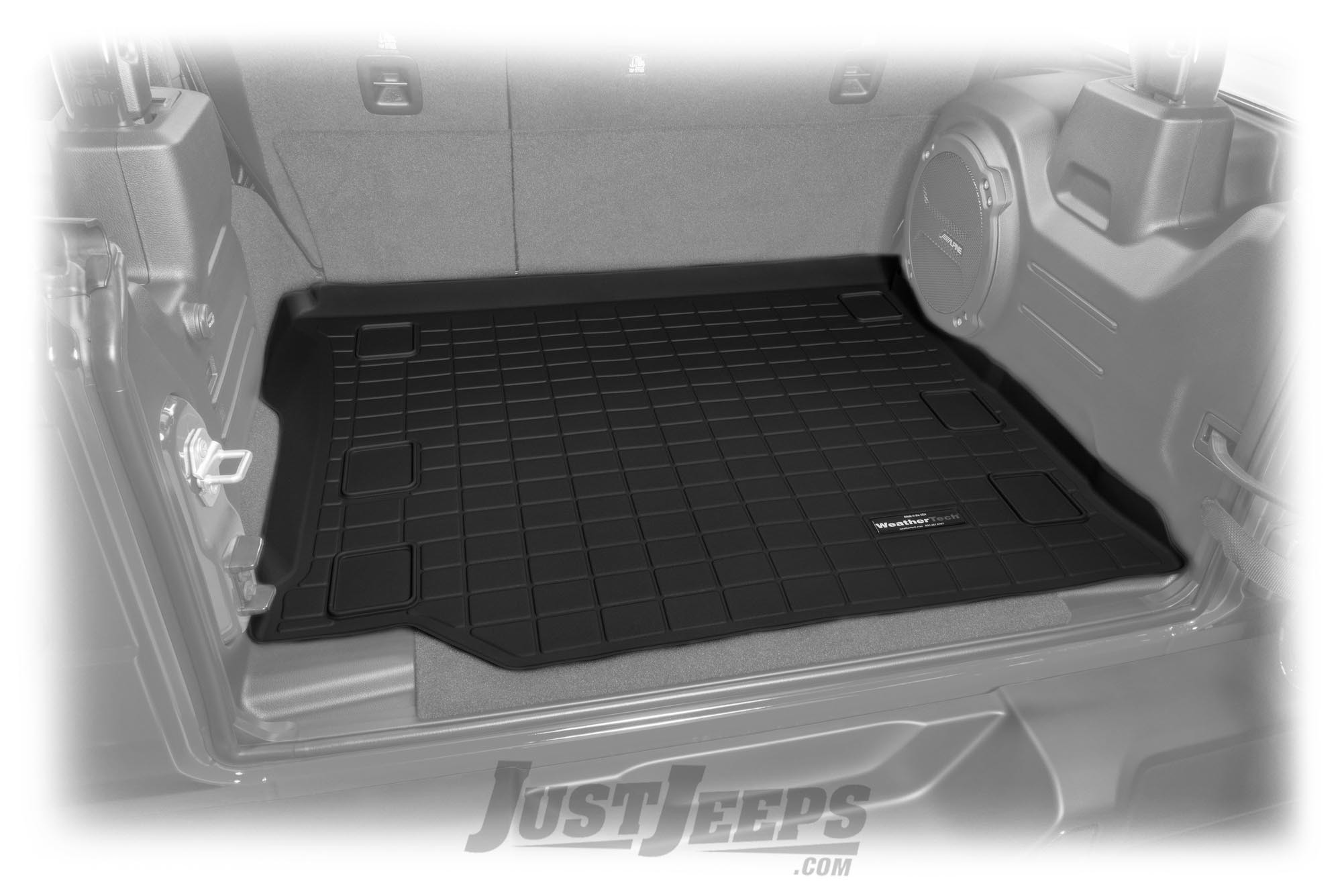 Just Jeeps Weathertech Rear Cargo Liner With Factory Subwoofer For 2018 Jeep Wrangler Jl Unlimited 4 Door Models 401107 Floor Mats Cargo Area Liner Shop By Part Jeep Parts Store In Toronto Canada