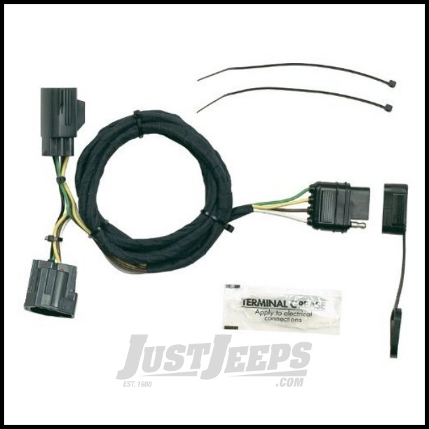 just jeeps hopkins simple plug-in trailer wiring harness kit for 2007-18  jeep wrangler jk 2 door & unlimited 4 door models - jeep wrangler jk  unlimited