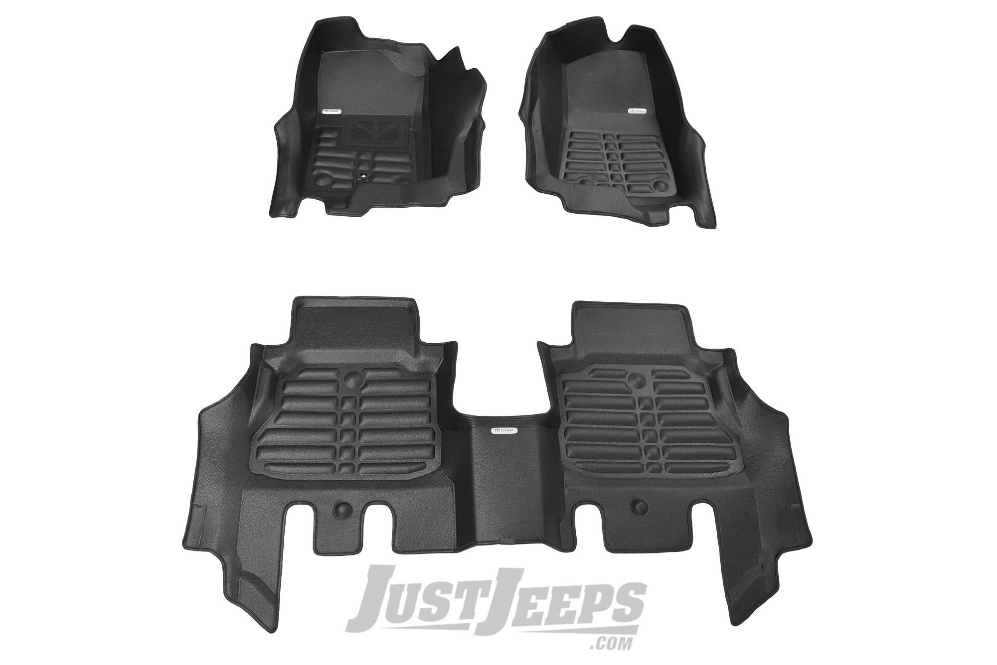 TuxMat Front & Rear Floor Mats In Black For 2018+ Jeep Wrangler JL Unlimited 4 Door Models