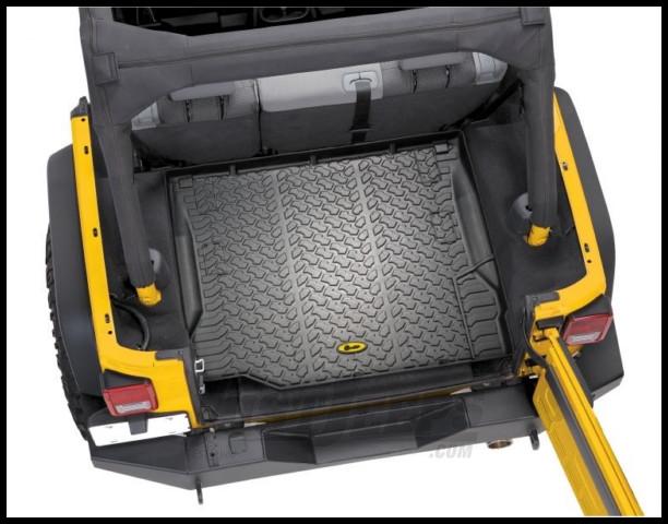 BESTOP Rear Cargo Area Liners Without Side Subwoofer In Black For 2011-18 Jeep Wrangler JK 2 Door & Unlimited 4 Door Models 51507-01