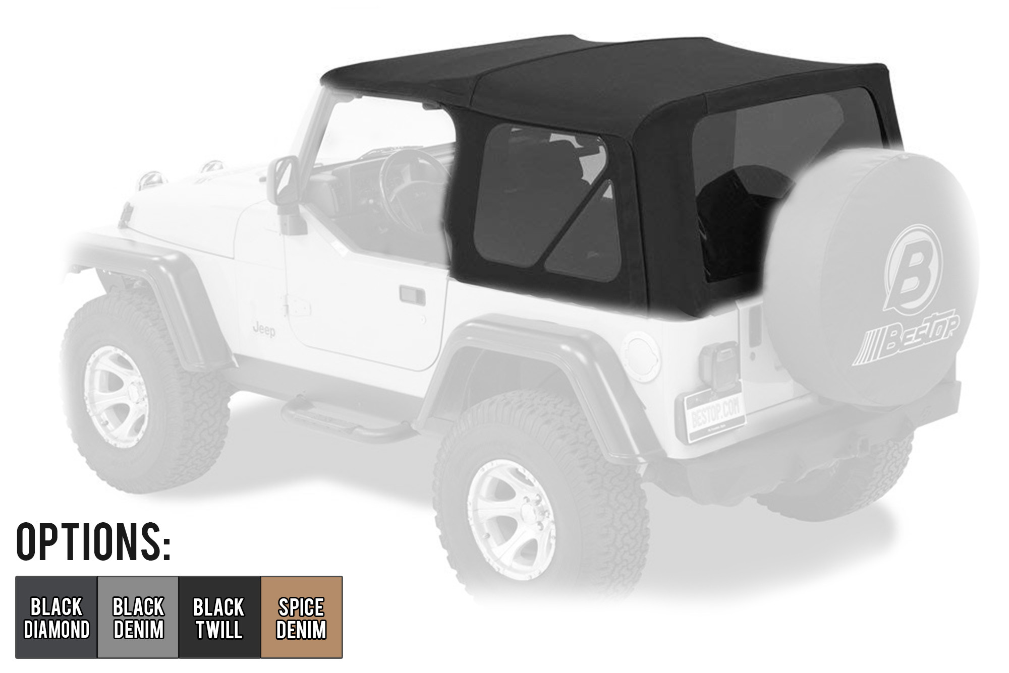 BESTOP Supertop NX Soft Top With Tinted Windows (OEM Style) For 1997-06 Jeep Wrangler TJ Models 54720-