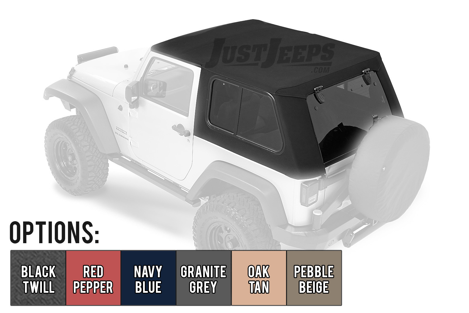 Just Jeeps Bestop Trp Pro Hybrid Soft Top With Tinted Removable Gl Windows For 2007 18 Jeep Wrangler Jk 2 Door Models Tops Complete Kits