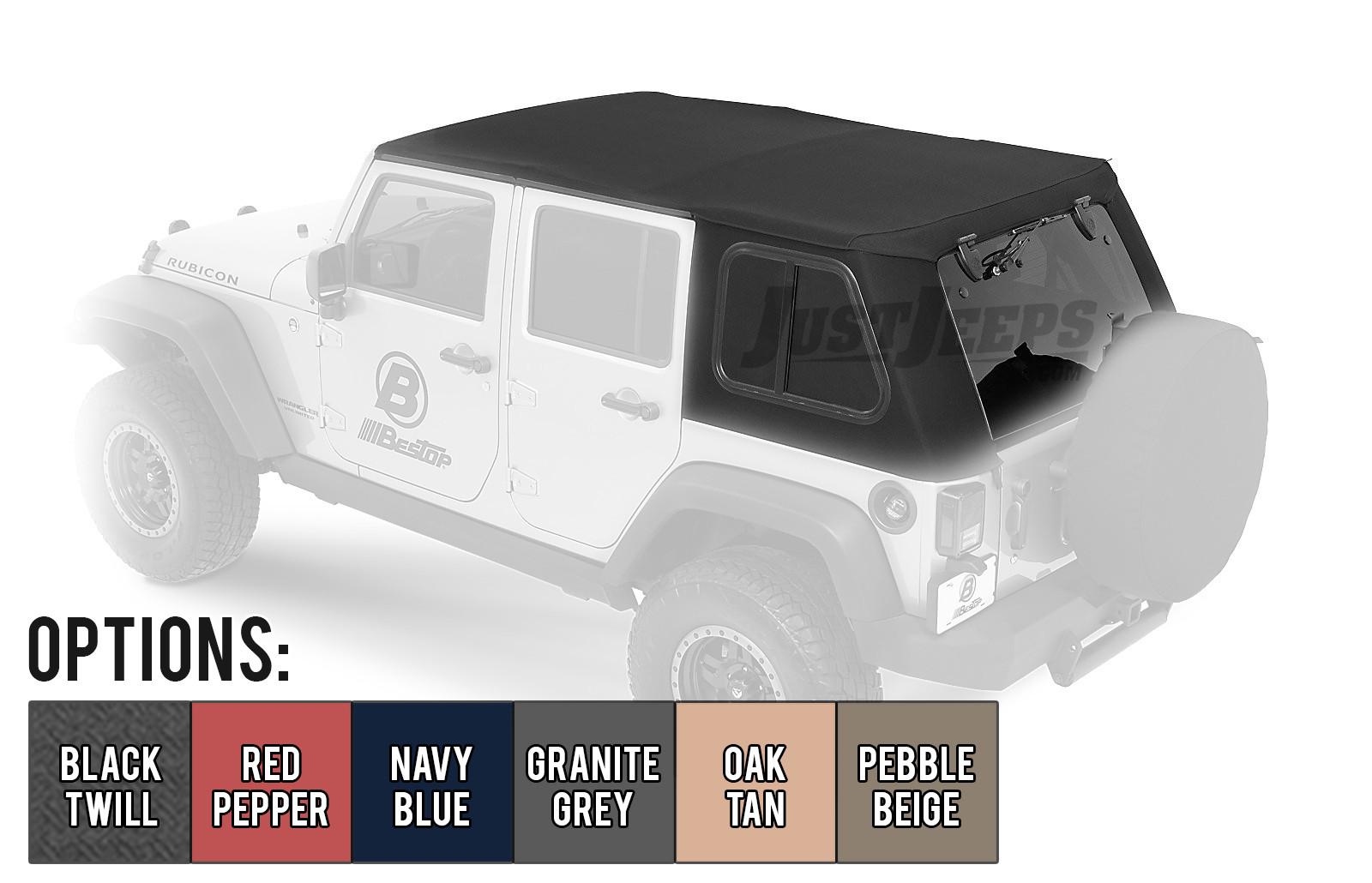 Bestop Trektop Pro Hybrid Soft Top With Tinted Removable Glass Windows For 2007-18 Jeep Wrangler JK Unlimited 4 Door Models