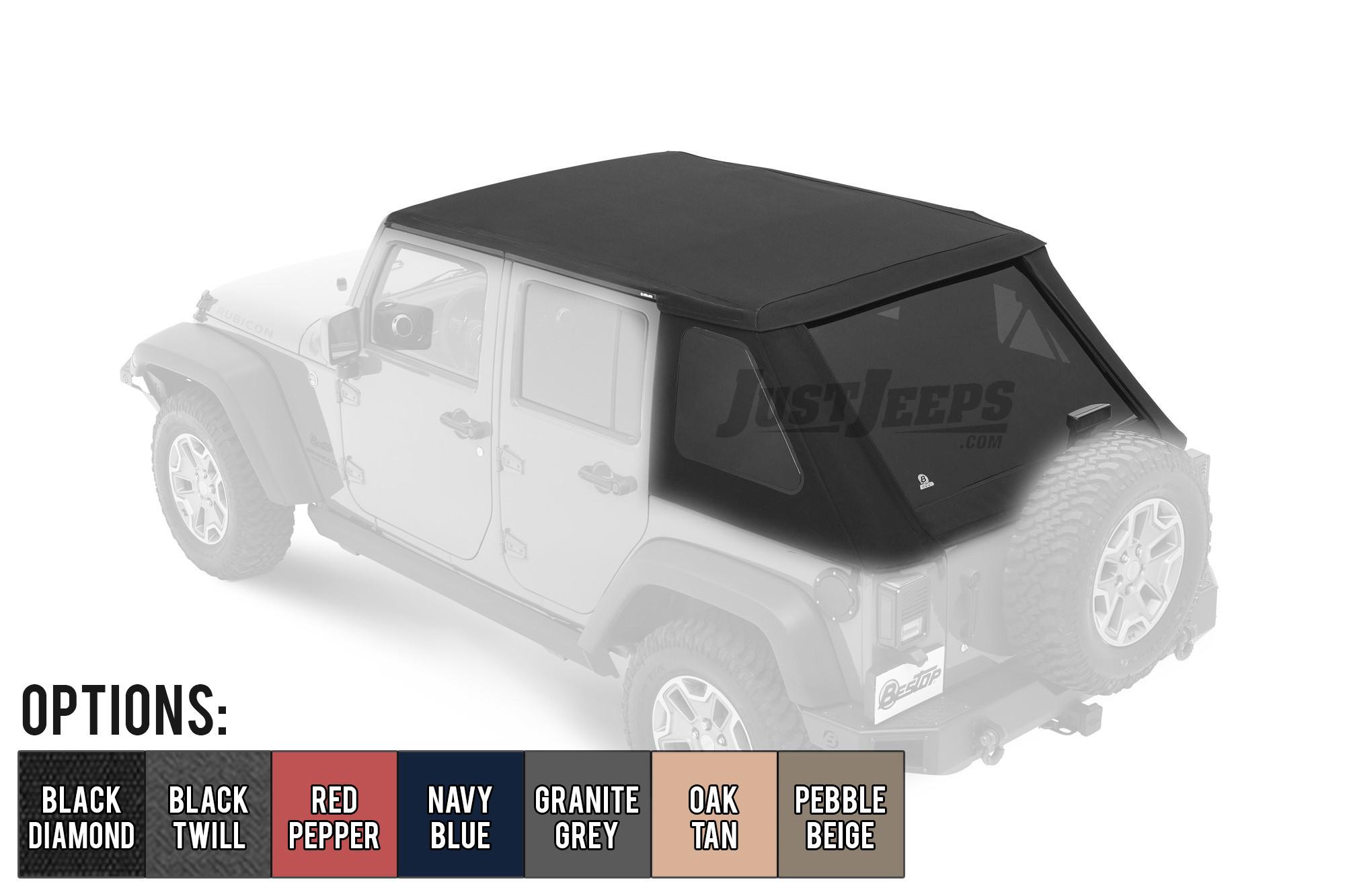 Bestop Trektop NX Plus With Tinted Windows For 2007-18 Jeep Wrangler JK Unlimited 4 Door Models
