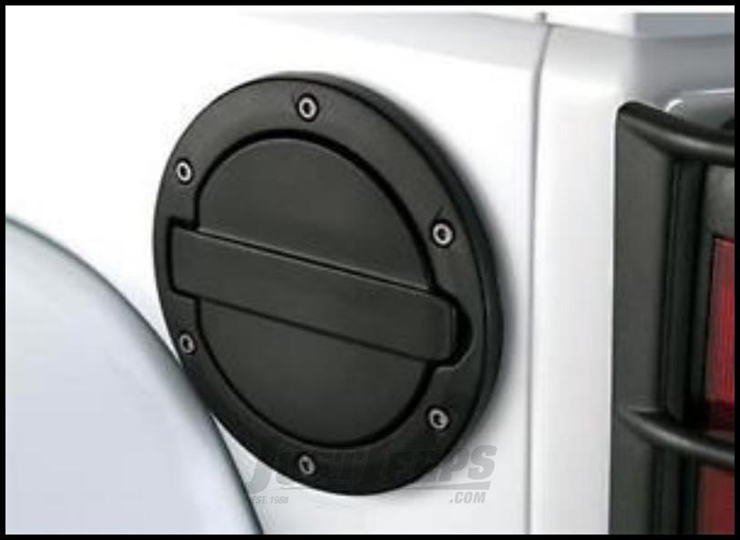 AMP Research Fuel Door In Black Powder Coat For 2007-18 Jeep Wrangler JK 2 Door & Unlimited 4 Door Models