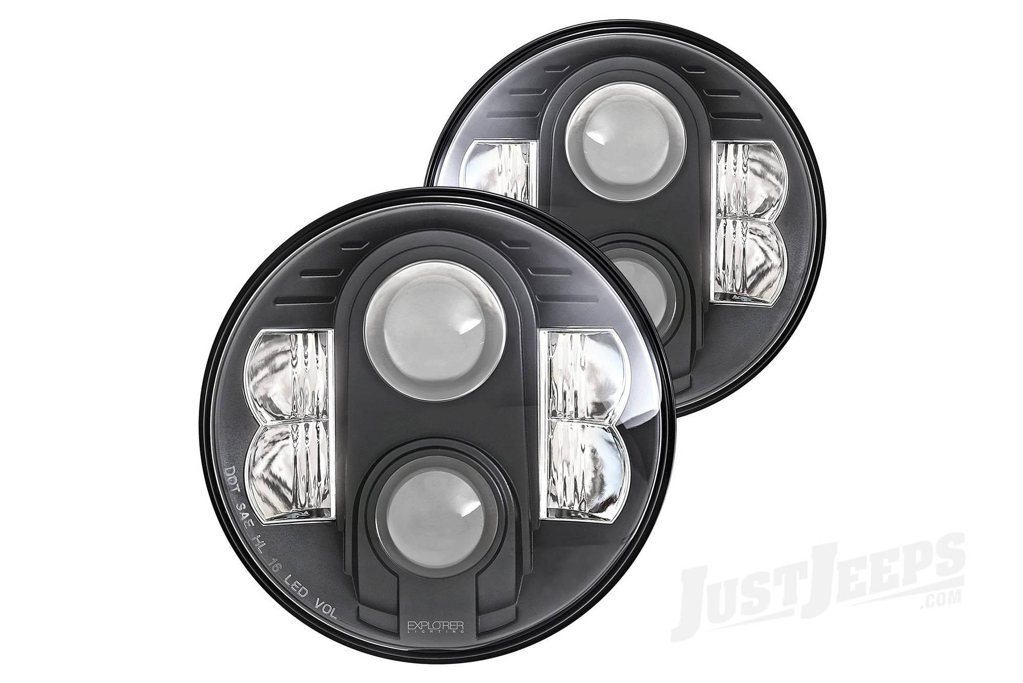 "Pro Comp Explorer 7"" LED Headlamps (Pair) For 1955-18 Various Jeep Models (See Details)"