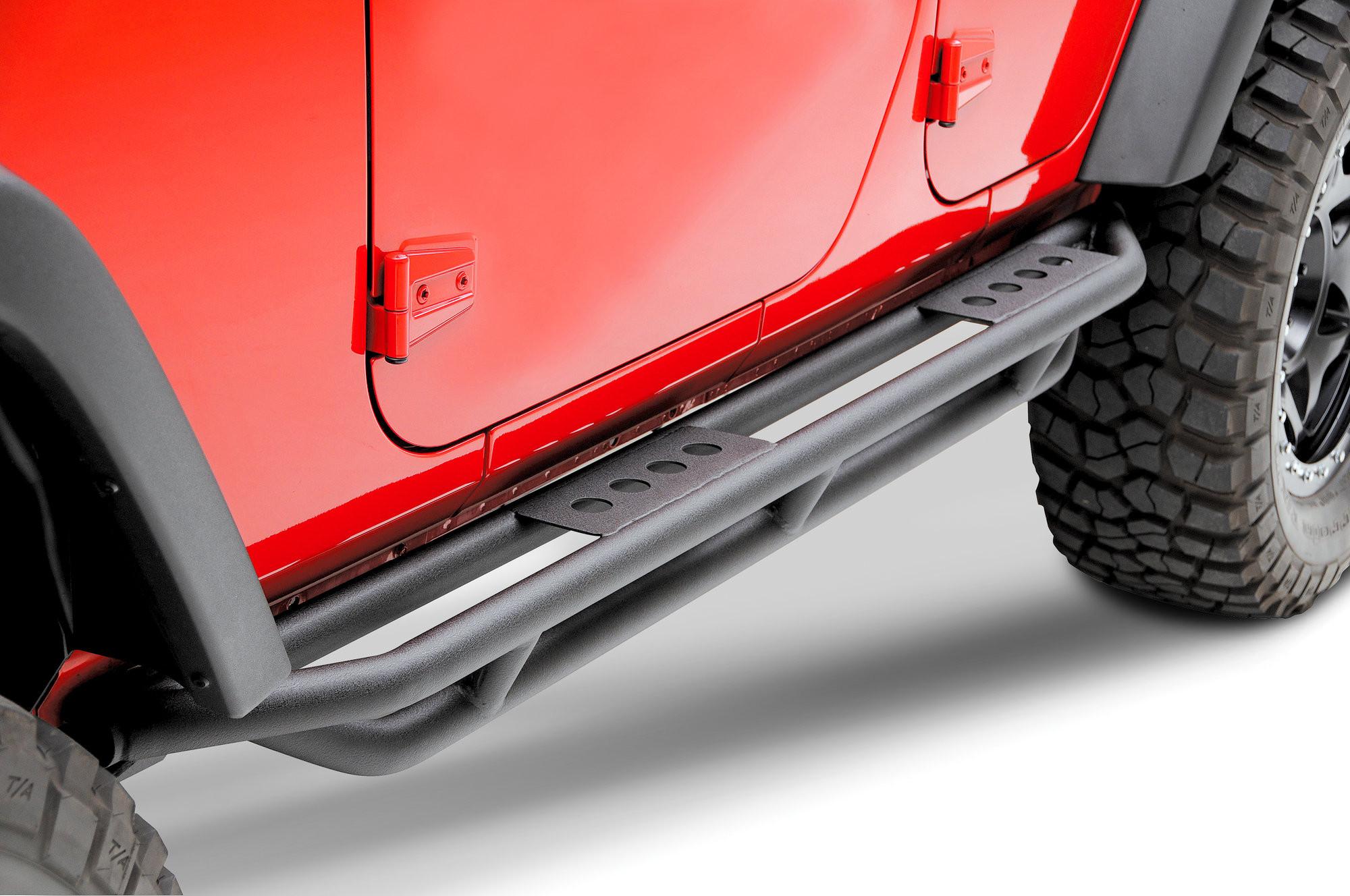 SmittyBilt (Textured Black) Smittybilt SRC Side Armor Steps For 2007-18 Jeep Wrangler JK Unlimited 4 Door Models