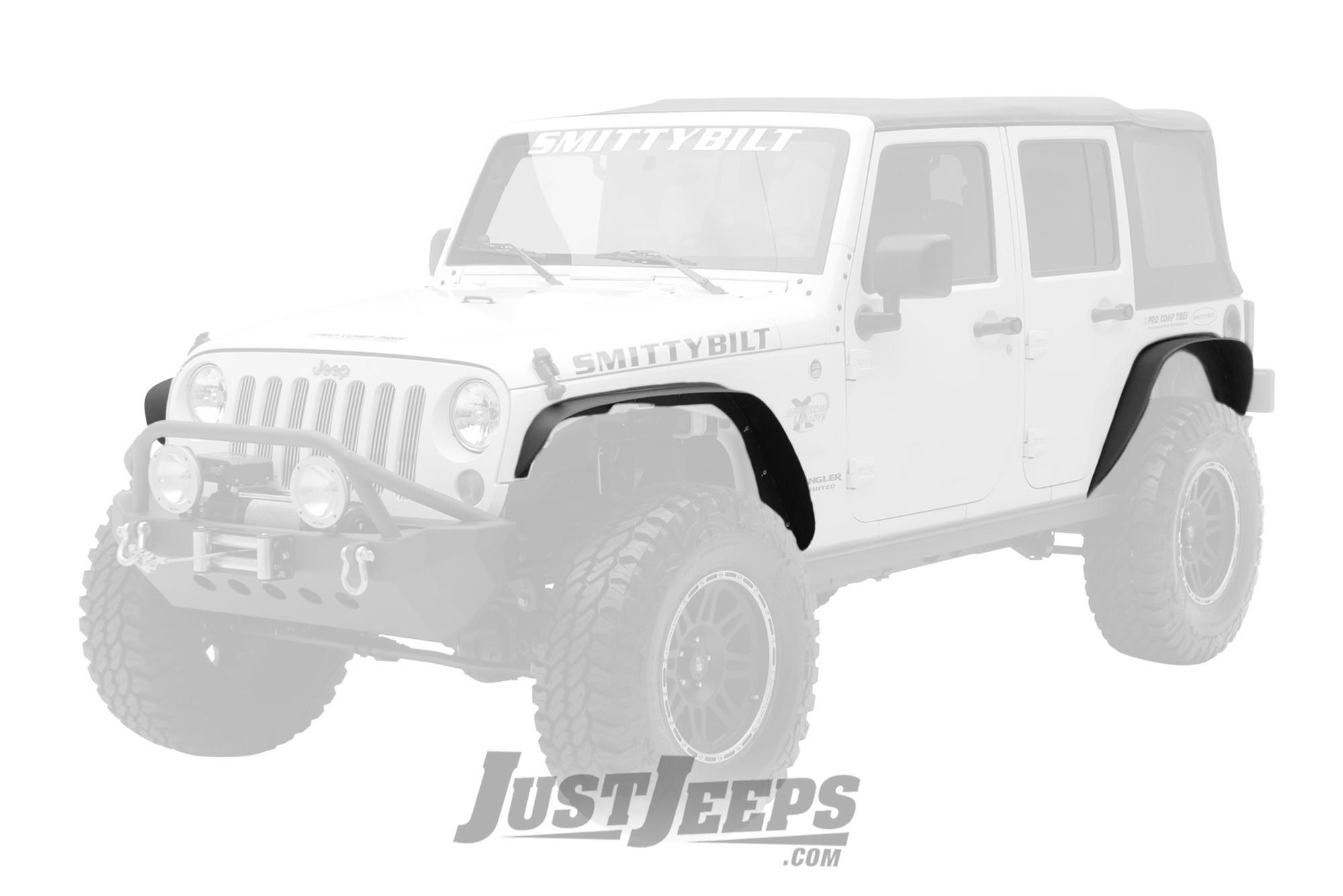SmittyBilt XRC Fender Flare Set in Black Textured For 2007-18 Jeep Wrangler JK 2 Door & Unlimited 4 Door Models 76837