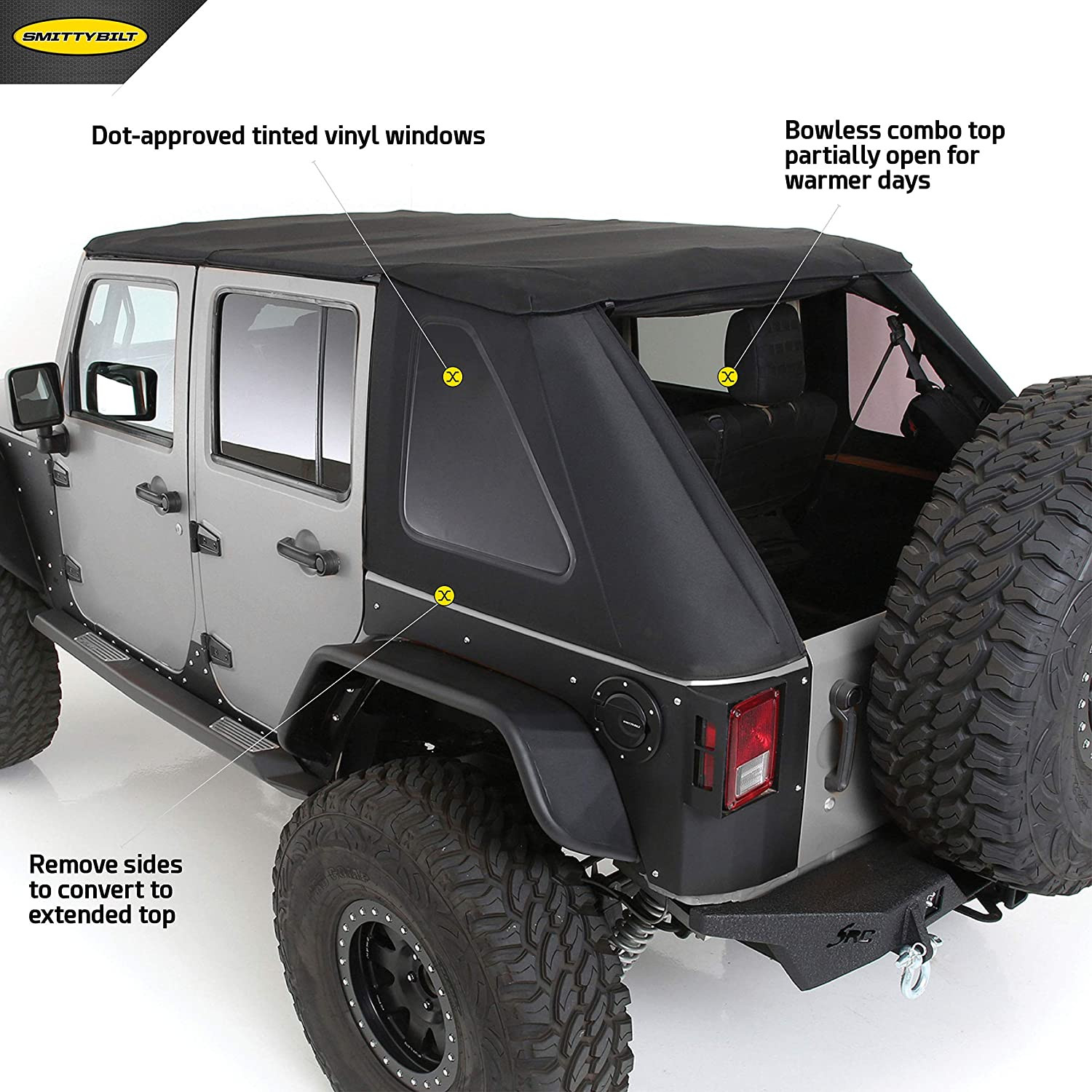 *CLEARANCE: SmittyBilt Bowless Combo  Top With Tinted Windows For 2007-18 Jeep Wrangler JK Unlimited 4 Door Models 9083135K