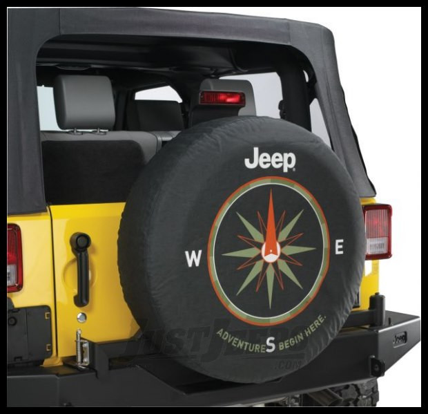 "MOPAR Jeep Tire Cover in Black Denim with ""Adventure Begin Here."" 82210884AB"