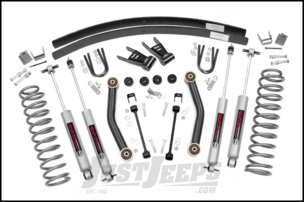 """Rough Country 4½"""" Series II Suspension Lift System With Premium N3 Series Shocks With Add-A-Leaf For 1984-01 Jeep Cherokee XJ 623N2"""