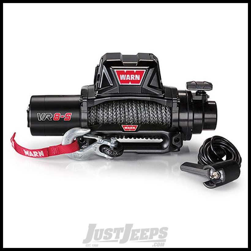 WARN VR8-S Winch with Synthetic Rope and Cast Iron Hawse Fairlead, 8,000 lbs, 12V
