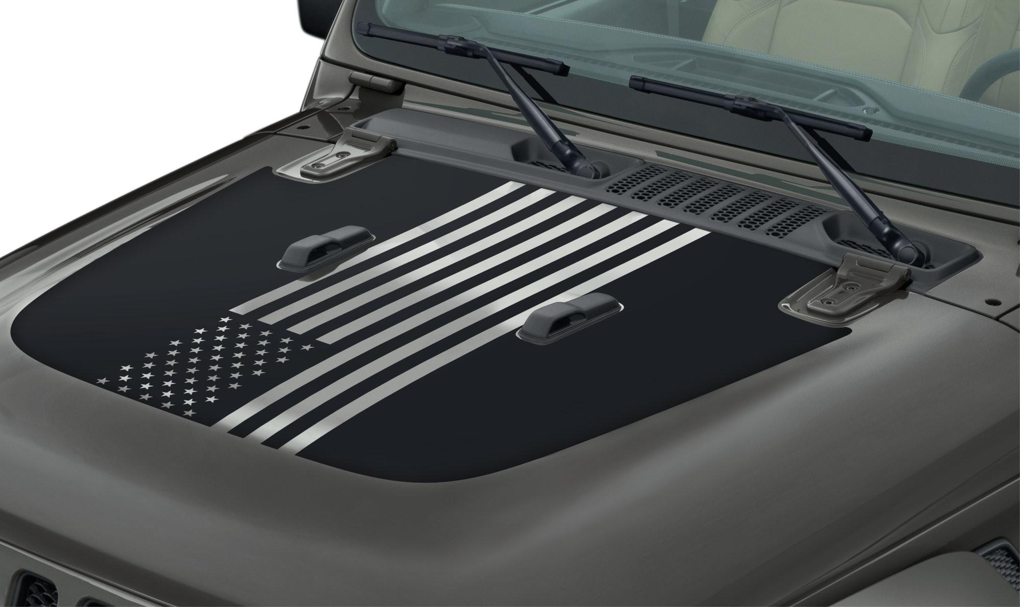 "Just Jeeps Buy Mopar Factory Parts ""American Flag"" Hood"