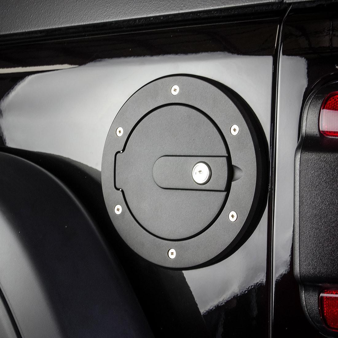 AMI Race Style Locking Billet Fuel Doors (Flat Black) For 2018+ Jeep Wrangler JL 2 Door & Unlimited 4 Door Models 6034KL