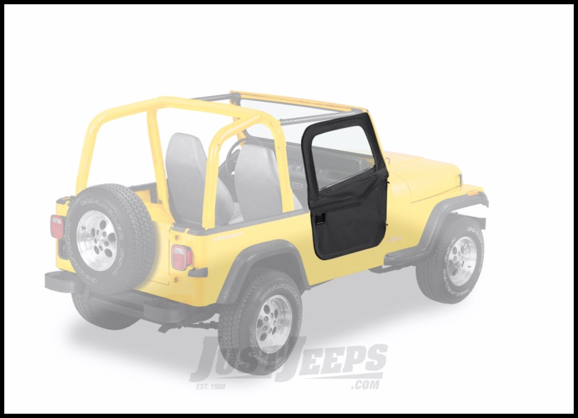 BESTOP 2-Piece Soft Doors In Black Crush For 1976-95 Jeep Wrangler YJ, CJ7 & CJ8 For Use With Factory Door Strickers