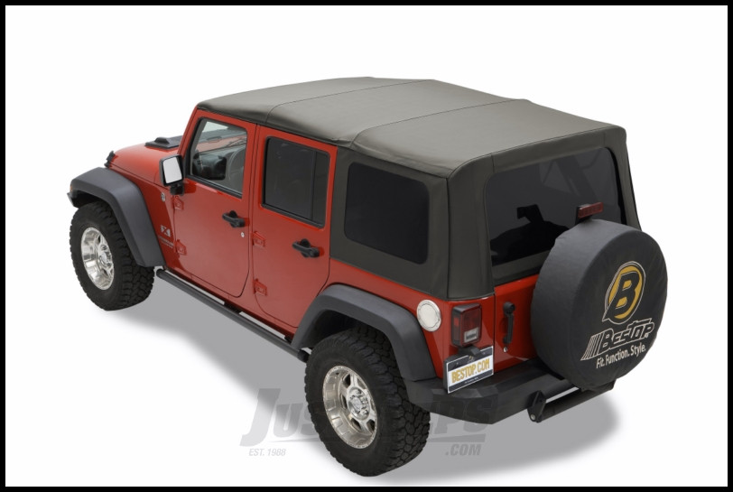 Bestop Replace A Top With Tinted Rear Windows In Sailcloth Black For 2010  Jeep Wrangler JK Unlimited 4 Door