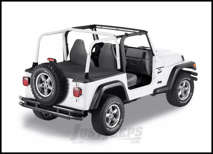 BESTOP Duster Deck Cover With Factory Soft Top Bow Folded Down In Black Denim For 1997-02 Jeep Wrangler TJ 90019-15