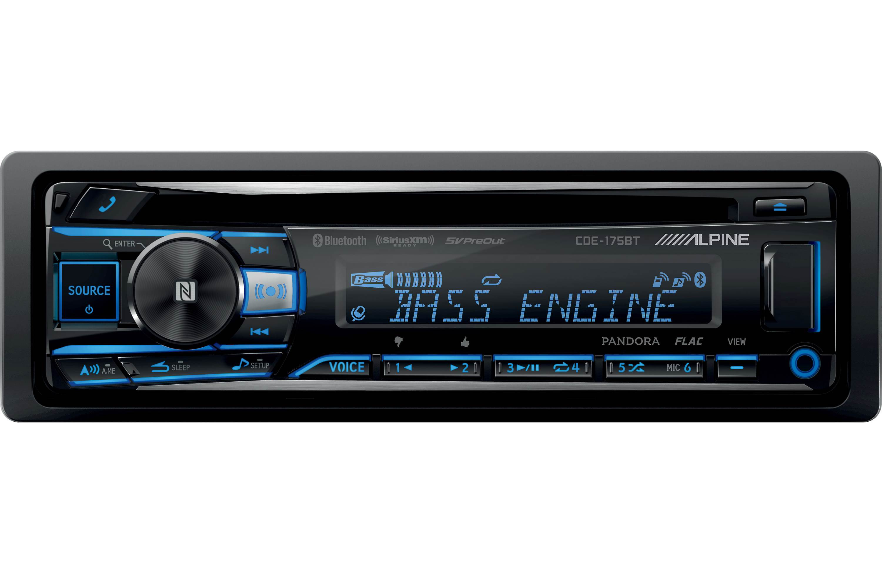 Alpine Single DIN Bluetooth In-Dash CD/AM/FM Car Stereo Receiver With Near Field Communication