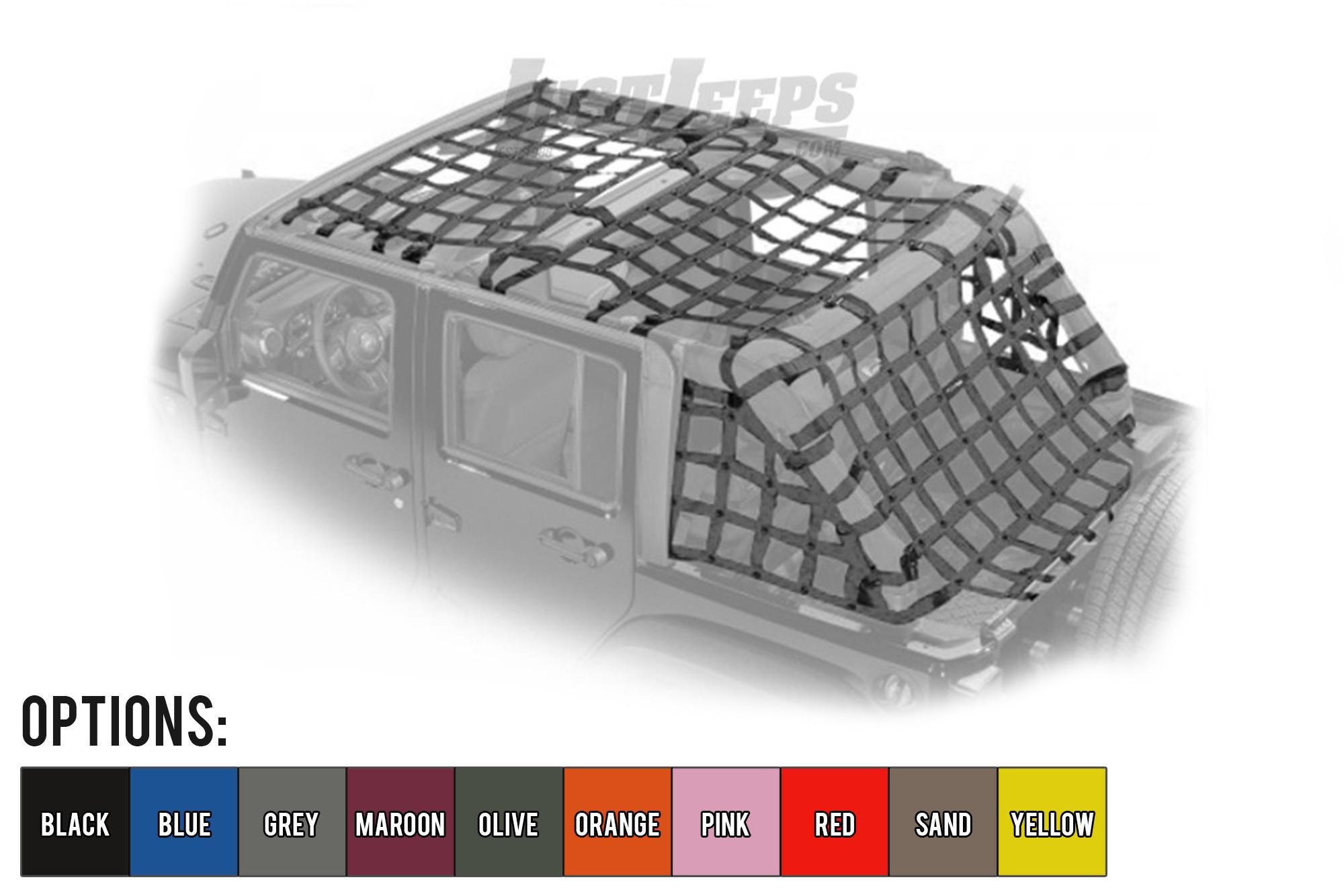 Dirtydog 4X4 Front & Rear Standard Style 5 Piece Netting Kit For 2007-18 Jeep Wrangler JK Unlimited 4 Door Models J4NN07AC-