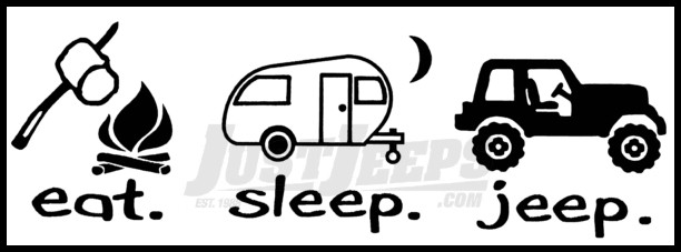 Just Jeeps Sticker Eat Sleep Jeep Camper Version Black