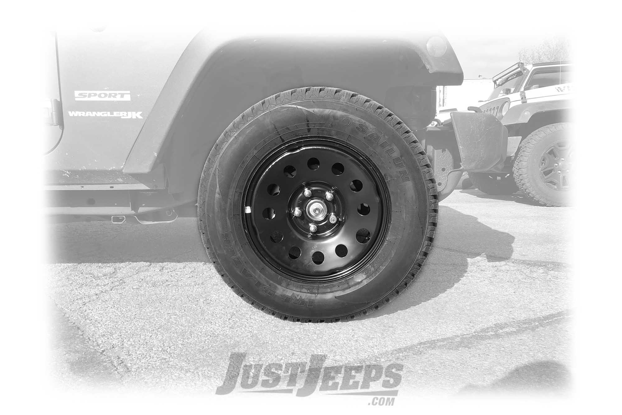 "Just Jeeps 17"" Winter Tire Package with Black Steel Wheels 265/70R17 For Jeep Wrangler JK"