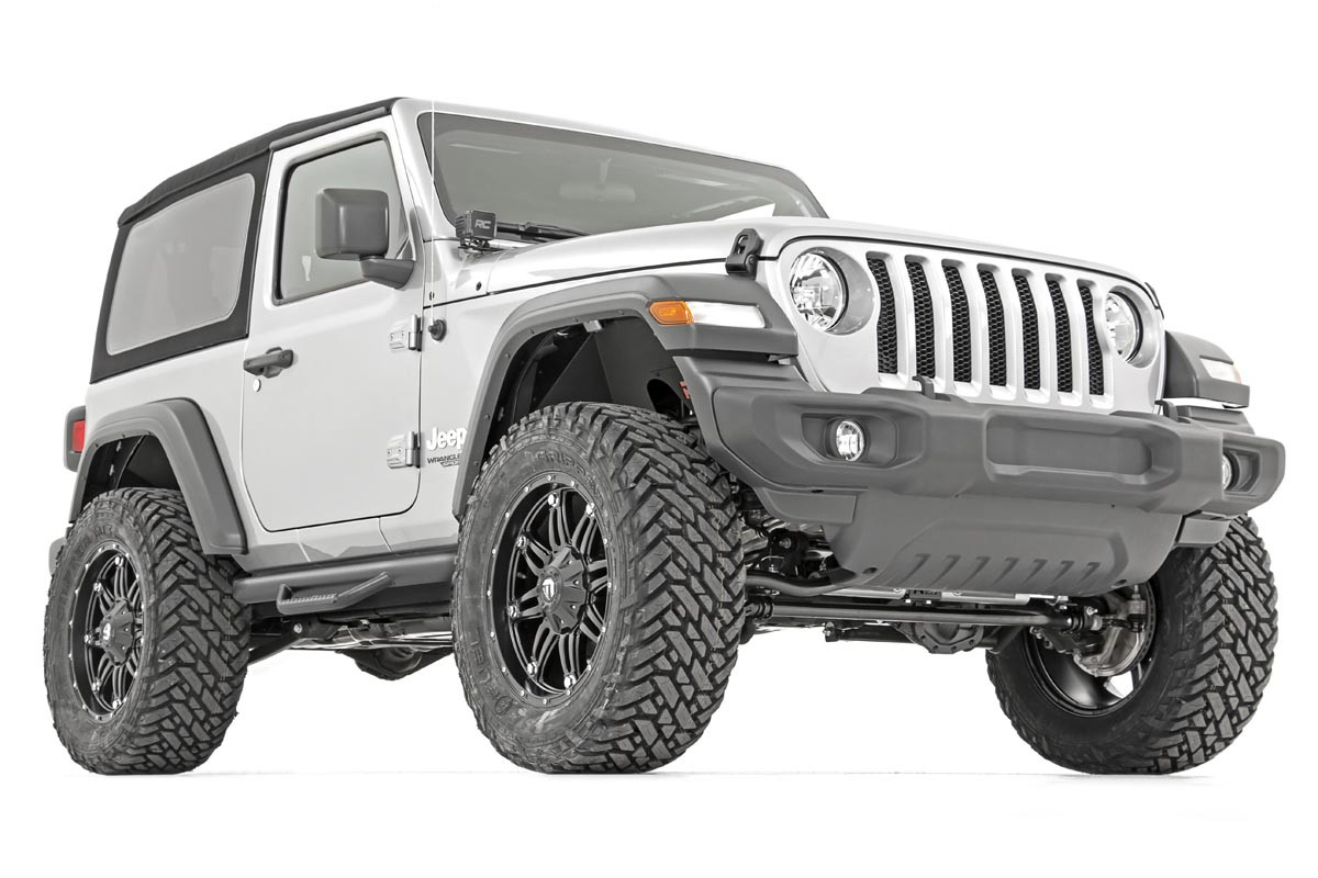 Rough Country Wheel To Wheel Nerf Steps In Textured Black For 2018+ Jeep Wrangler JL 2 Door Models