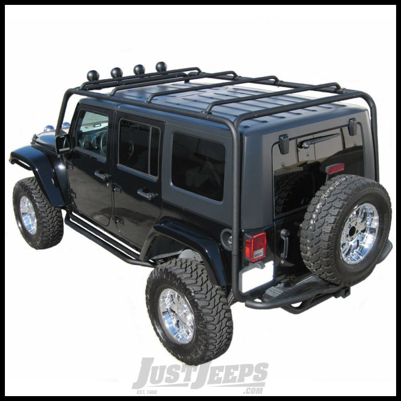 just jeeps buy smittybilt src roof rack in black textured for 2007 jeep wrangler jk unlimited 4. Black Bedroom Furniture Sets. Home Design Ideas