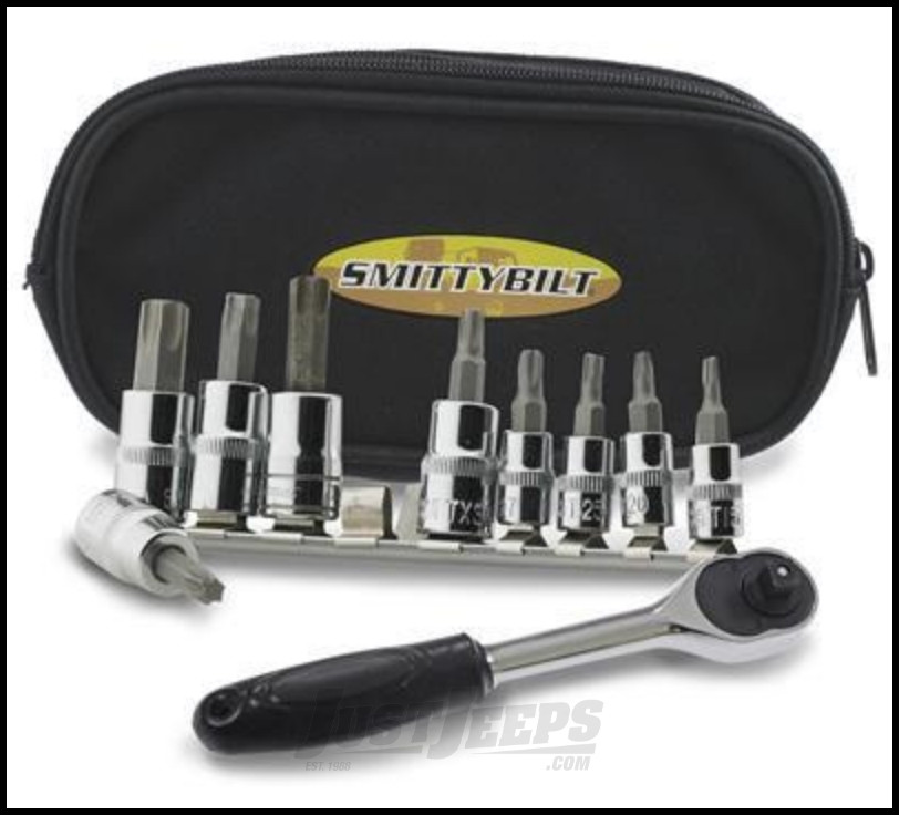 """SmittyBilt 9 Piece Torx Tool Kit With 3/8"""" Ratchet & Carrying Case"""
