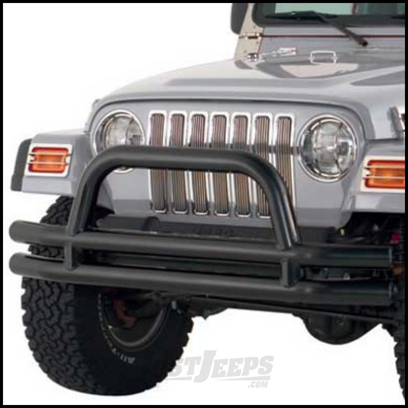 SmittyBilt Double Tube Front Bumper With Hoop In Gloss Black For 1976-18  Jeep Wrangler YJ, TJ, CJ Series