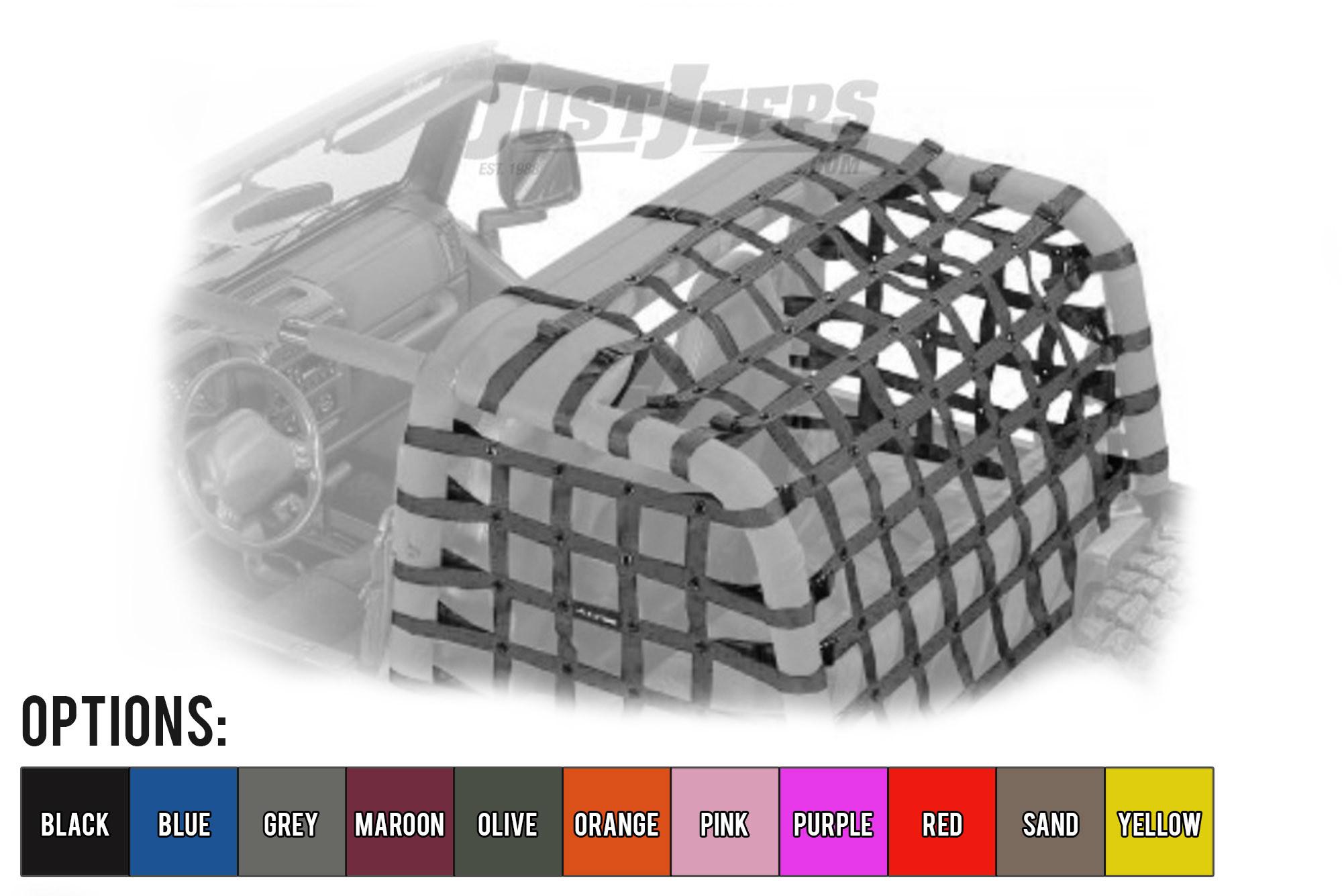 Dirtydog 4X4 Rear Cargo Area Netting For 1997-06 Jeep Wrangler TJ Models T2NN97RC-