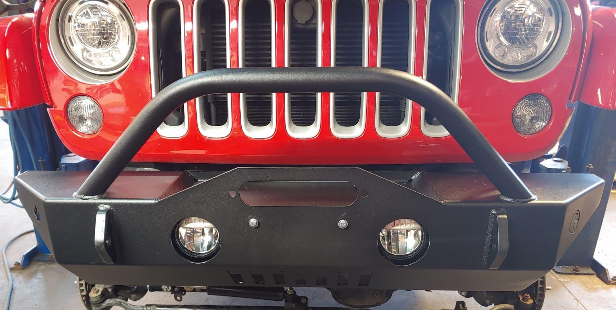 Trail Head Customs Front Mid-Width Bumper In Black For 2007-20+ Jeep Wrangler JK/JL & Gladiator JT Models JKFBS-BLK