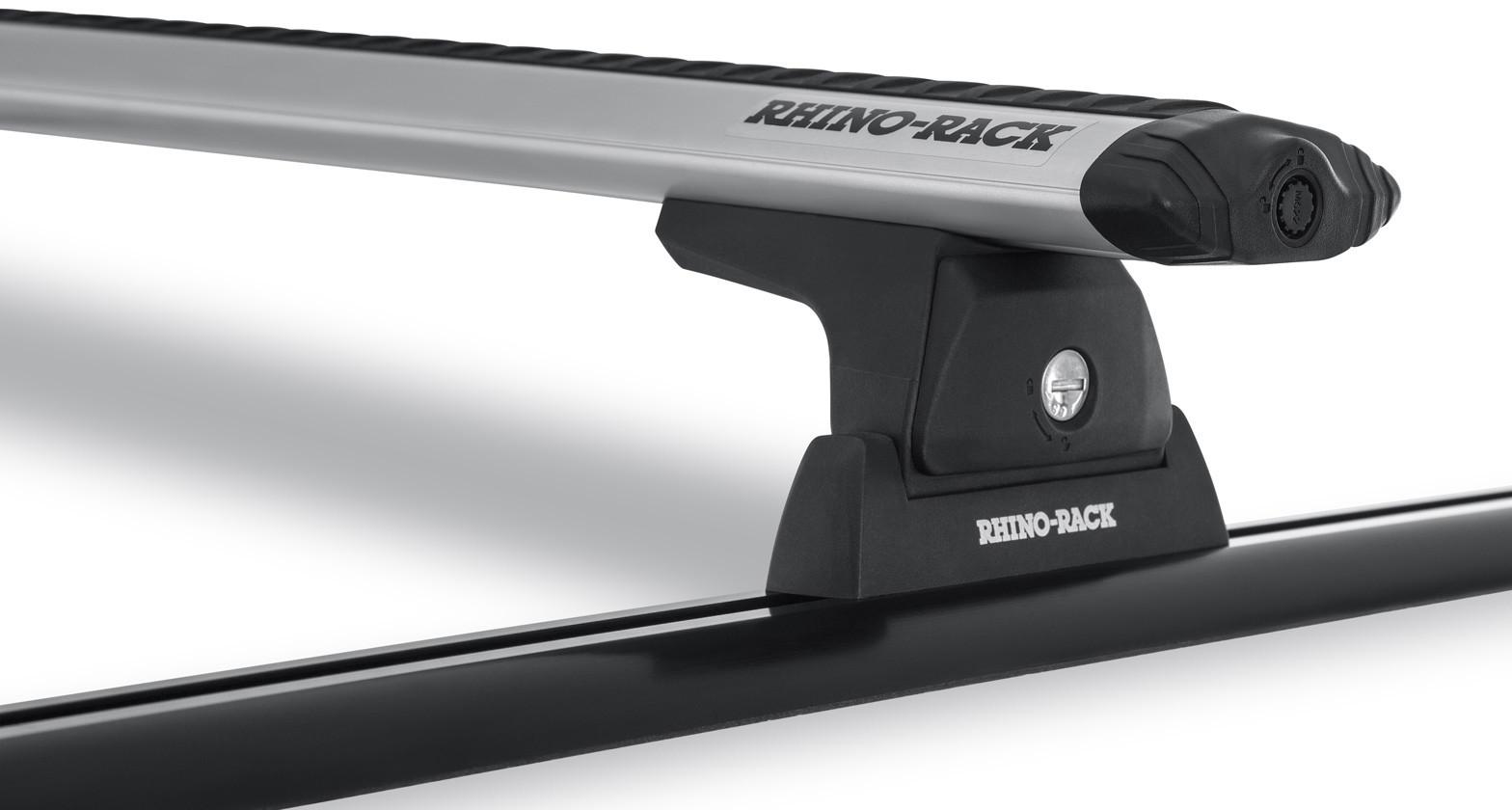 Rhino-Rack Vortex RLT600 Trackmount Silver 2 Bar Roof Rack For 2011-18 Jeep Wrangler JK  JA6197